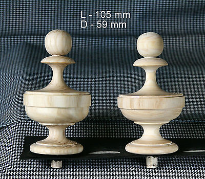 2 Wood FINIALS 105 mm for Antique Wall Clock / Barometer / Mirror / Furniture #8