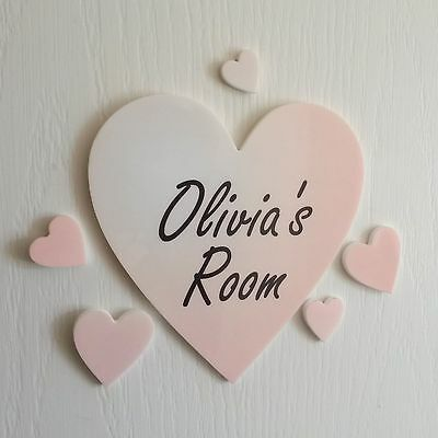 Personalised Colour Heart Door Name Plaque Boy or Girls Bedroom Room Sign