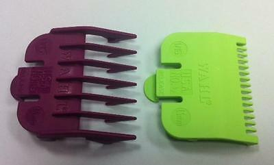 WAHL Clipper Attachment Combs - Size 0.5 (Lime Green)  + Size 1.5 (Plum)