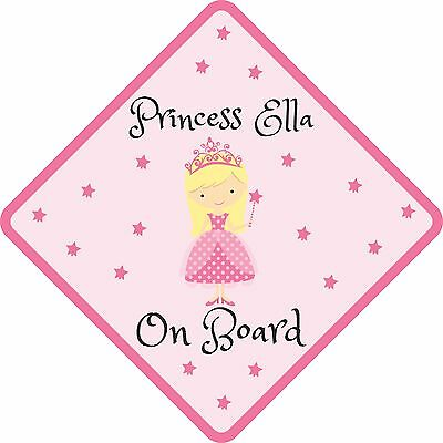 Personalised Princess On Board Signs Stickers Baby Safety Car Vehicle Great Gift