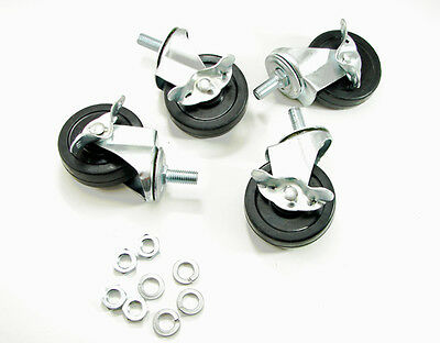 "4 Pack 3"" Stem Mounted Rubber Wheel Casters with Brake and Hardware SCB-3"