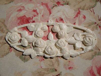 "Flexible ""FRENCH CABBAGE ROSES ~ OVAL Furniture Applique Architectural Onlay"