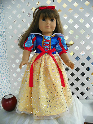 """Snow White"" Gown/Costume fits American Girl & 18"" Dolls BEAUTIFUL!!!"