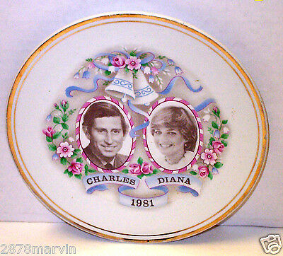 1981 Prince CHARLES & DIANA Spencer PLATE Royal Family Queen Elizabeth Nice-Rare