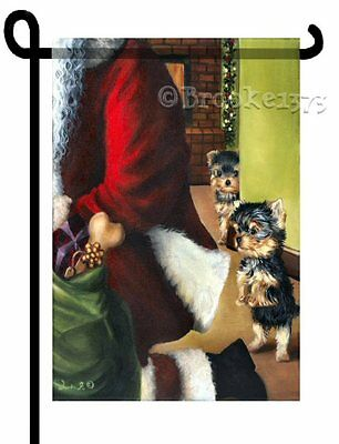 YORKIE painting Christmas GARDEN FLAG Dog puppies Yorkshire Terrier Holiday ART