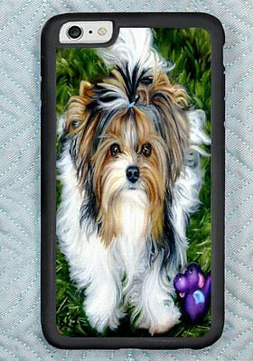 iPHONE 6 + PLUS Biewer Terrier Yorkie dog COVER ART painting RUBBER