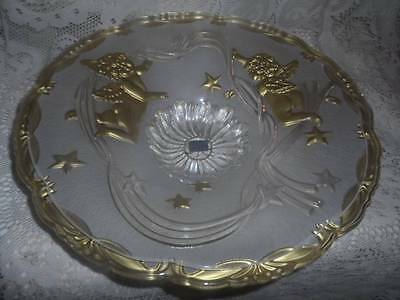 VTG LG.Crystal Frosted Glass Mikasa Germany Gold Angels CenterPiece Console Bowl