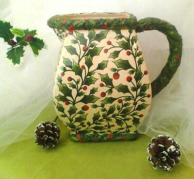 HOLLY BERRY PRINT PITCHER - RARE - BY PACIFIC RIM CHINA -