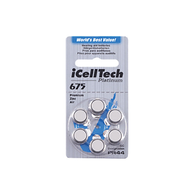 ICELLTECH Hearing Aid Batteries Size 675 Cochlear Implant (60 QTY) Zinc Air