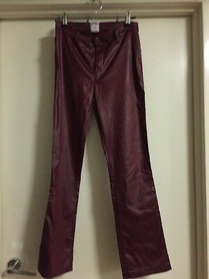 Vintage Moschino Jeans Burgundy Shiny Trousers Size 42