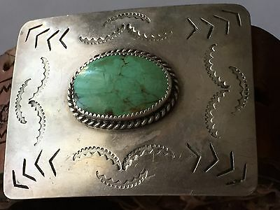 Sterling Silver and Turquoise Mens Belts buckle and Leather belt size 42