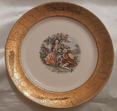 """Vintage W. S. George Plate-17th C. Courting Couple w/ 22 Kt Gold Trim """"Derwood"""""""