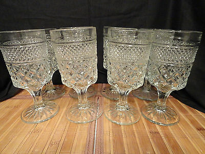 ANCHOR HOCKING WEXFORD GOBLETS, 6.5 inches tall, Set of 8