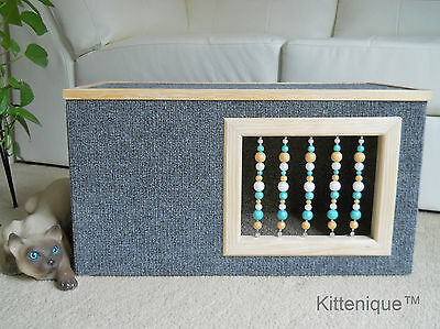 Kittenique Gray Beaded Cat House - Wooden Cat Furniture