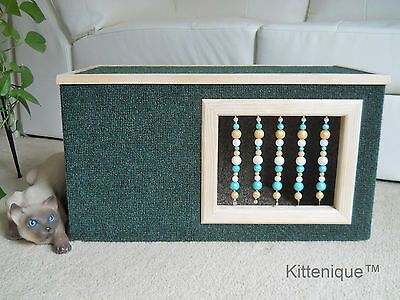 Kittenique Green Beaded Cat House - Wooden Cat Furniture