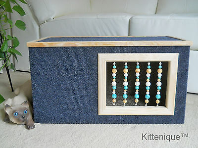 Kittenique Blue Beaded Cat House - Wooden Cat Furniture