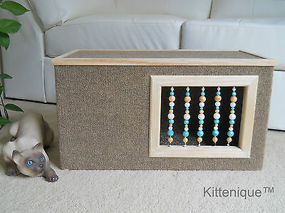 Kittenique Brown Beaded Cat House - Wooden Cat Furniture