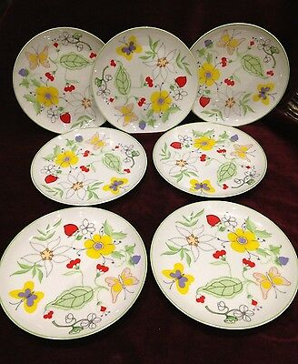 Set of 7 Taste Seller Sigma LOVE STORY Butterfly Flowers Plates Japan #298