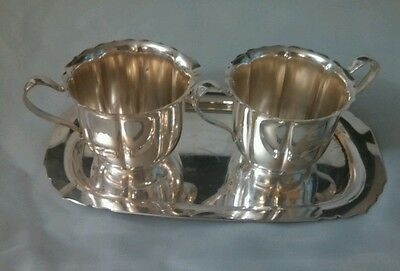 Vintage WM. Rogers 625 Silver Plate Sugar Bowl, Creamer and Tray