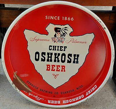 Beer Tray Chief Oshkosh Company Advertising Collectible Vintage Antique Rare Tip