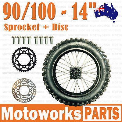 "90/100-14"" Inch Rear Back Wheel + Sprocket + Disc +Bolt Dirt Pit PRO Trail Bike"