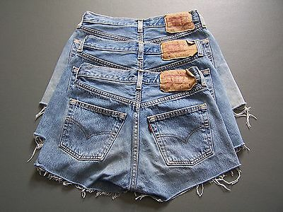 Levis 501 Womens High Waisted Hotpants Denim Jeans Shorts A Grade vtg size 6 -18