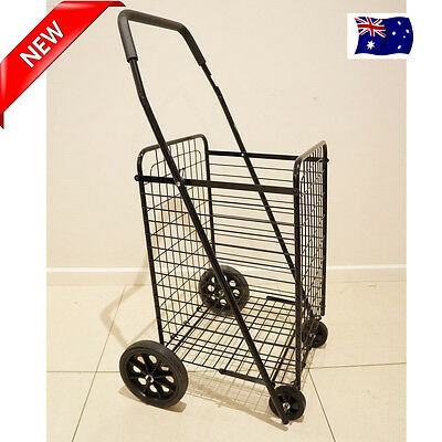 New Shopping Trolley Collapsible 4 Wheels Large Steel Metal Basket Folding Cart