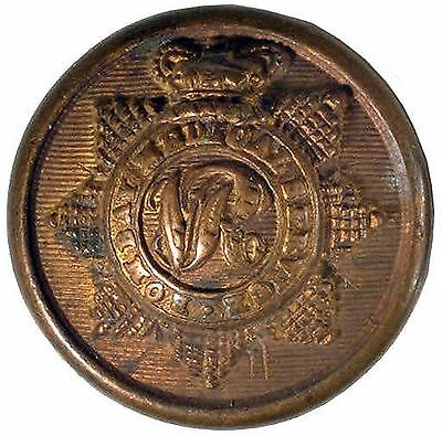 1885. Queen Victoria Crown. Bombay Medical Staff Tunic Button  #121
