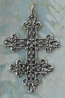 Cross of Lorraine Antique Replica Rosary Medal Sterling Silver or Bronze 1271