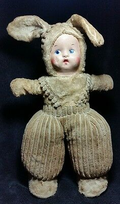 Rare and Unique Paper M'ache Mask Stuffed Mohair Baby Doll #741