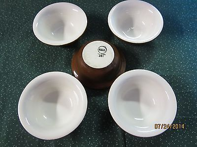Set of 5 Brown & White Glazed Hall Pottery Small Dinnerware Bowls
