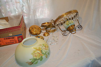 Antique Victorian Electrified Oil Lamp Chandelier Signed Hand Painted Shade