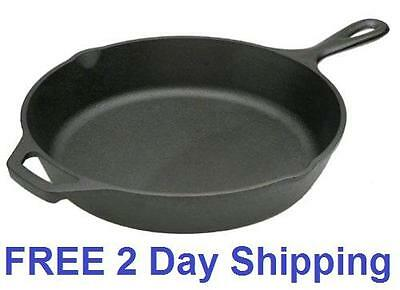"Cast Iron Lodge Seasoned Kitchen Skillet 10.25"" Cooking Frying Pan Deep Black"