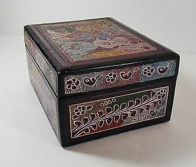 Mexican Folk Art Hinged Lidded Box/Hand Painted Wood Birds Lacquer/Vintage