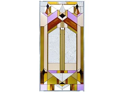 Deco Tectural Geometric 18x35.5 Hand Painted Stained Art Glass Window Suncatcher