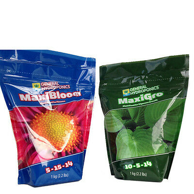 General Hydroponics Maxi-Grow and Maxi-Bloom 1Kg Set Fo Indoor Outdoor Plant