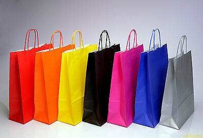 Coloured Kraft Paper Carrier Bags With Twisted Handles - Medium