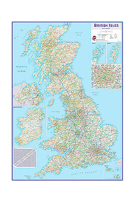 Huge British Isles Route-planning Wall Map *FREE UK SHIPPING*