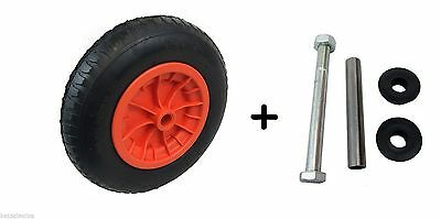 "ORANGE 14"" Pneumatic STRAIGHT VALVE Wheelbarrow wheel 3.50 - 8 WITH AXLE SET"