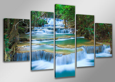 Pictures XXL waterfall 5520 Canvas picture framed 5 pts Brand Visario 63x31/'/'TOP