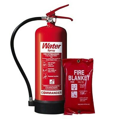 5% Off New 6 Litre/ltr Water (H2O) Fire Extinguisher + Fire Blanket