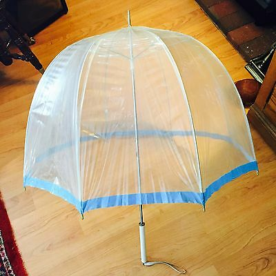 Vintage Retro 60's Clear Plastic Blue Vinyl  Umbrella with White Wood Handle
