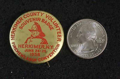 1938 Firemen's Convention Herkimer County New York Hat Lapel Pinback Button