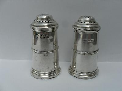 PAIR OF SOLID SILVER SALT PEPPER SHAKERS Sheffield 1896