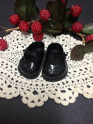 """* Original Ideal 14"""" Shirley Temple / Toni Doll Shoes, Black Embossed Flowers*"""