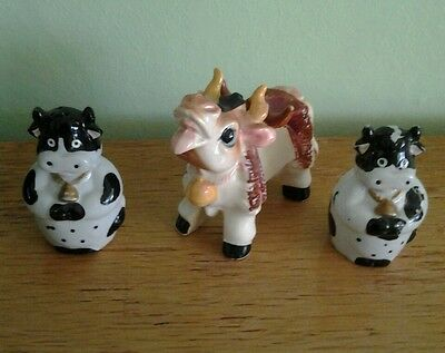 LOT OF 3 COW FIGURINES - SOME PAINT MISSING ~ PLEASE SEE PICS