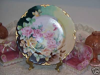 "Peerless Bavaria Germany Porcelain 93/4""Plate Hand Painted Roses Signed A Pruden"