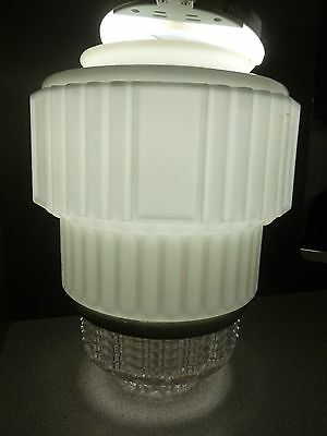 "White  Clear Glass Art Deco Skyscraper Ceiling Light Lamp Shade 12""T x6"" Fitter"