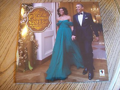 NEW 2015 16 MONTH BARAK AND MICHELLE OBAMA 12 X 12 WALL CALENDAR THE OBAMAS