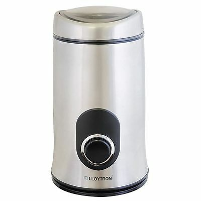 Lloytron E5602SS Electric Coffee Grinder Spice Nuts Herbs Stainless Steel New
